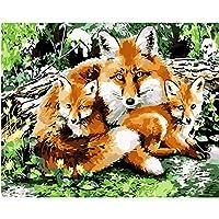 ペイントバイナンバー 大人用 Diyキャンバス油絵キット デジタルペインティング ホームリビングルーム装飾絵画 - 狐 (16X20インチ/フレームレス)