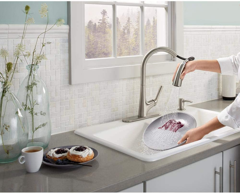 Kohler Elmbrook Single Handle Pull Down Sprayer Kitchen Faucet In Vibrant Stainless Amazon Com