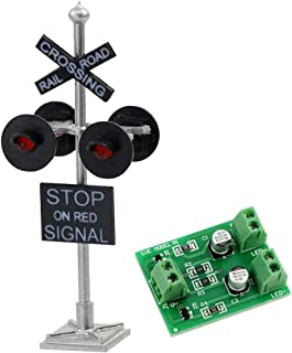 JTD876RP 1 Set HO Scale Railroad Train/Track Crossing Sign 4 Heads LED Made + Circuit Board Flasher-Flashing Red Train Signal Lights Decoration and Party