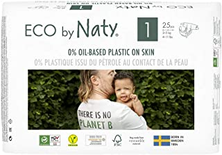 Eco by Naty Premium Disposable Diapers for Sensitive Skin, Size 1, 4 Packs of 25 (100 Diapers), 2.81 Kilograms