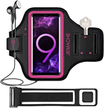 Galaxy S10/S9/S8 Armband, JEMACHE Gym Run/Jog/Exercise Workout Arm Band for Samsung Galaxy S10/S9/S8/S7 Edge with Key/Card Holder (Rosy)