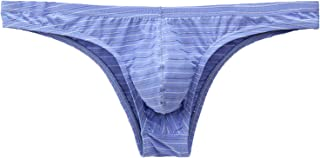 minjiSF G-String Underwear for Men Sexy Low Rise Fashion Colour Stripes Supporters Comfortable Breathable Sports Fitness S...