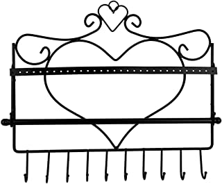 Rbenxia Wall Mount Heart Shape Jewelry Organizer Hanging Earring Holder Necklace Jewelry Display Stand Rack Black