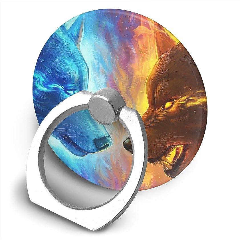軽く逃れる役職火と氷の狼 プリント スマホリング ホールド リング 丸型 指輪リング 薄型 おしゃれ 落下防止 360° ホルダー 強吸着力 IPhone/Android各種他対応