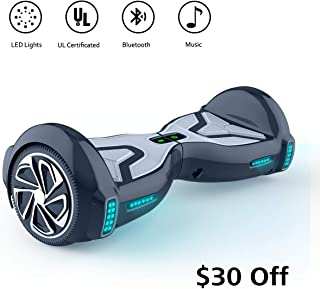 TOMOLOO Hoverboards with Bluetooth Speaker and Led Lights, Two Wheels Self Balancing Scooters, Electric Heavy Duty Hover Boards for Kids & Adults- UL2272 Certified