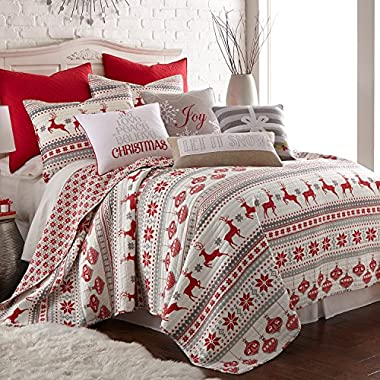 Levtex Silent Night Full/Queen Quilt Set, Red/Grey/White, Cotton Christmas Holiday