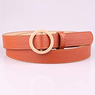 WMWLUO Ladies Non-Hole Golden Round Buckle Belt Jeans Belt Student Simple Wild Decorative Thin Belt (Color : Orange)