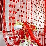 Lindo corazón línea borla cadena cortina de ventana de moda romántica decorativa sala de estar cortina de cadena de puerta roja