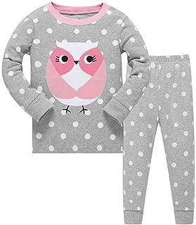 Conjunto de pijama para niñas de búho bonito, de manga larga, 100% algodón, ropa de dormir, camisetas y pantalones, de 2 a...