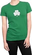 NYC FACTORY USA Screen Printed Ladies Shamrock T-Shirt St Patrick's Day Womens Tee Irish Green Distressed