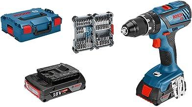 Bosch Professional GSB 18V-28 System Taladro percutor, torsión máxima: 63 NM, Incl 35 pcs Juego de Accesorios de Impacto, 2X 2.0 Ah batería, en L-BOXX 136, Amazon Edición, 36 W, 18 V, Azul