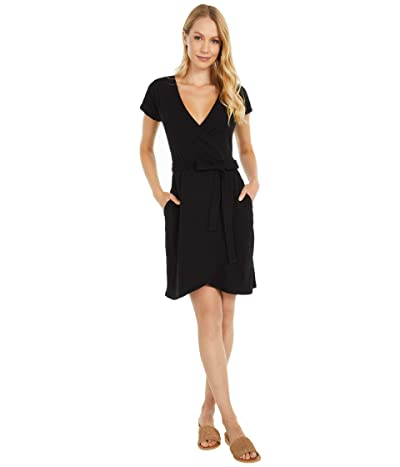 PACT Organic Cotton Wrap Dress (Black) Women