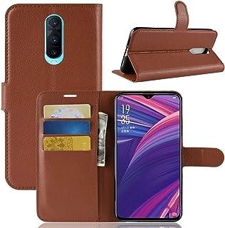 OPPOケース OPPO R17 Pro用ライチテクスチャ横置きフリップレザーケース、財布&ホルダー&カードスロット付き OPPOケース (色 : Brown)