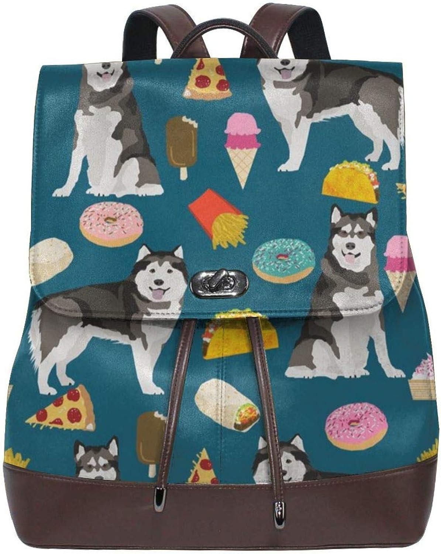 Fashion Leather Backpack Alaskan Malamute Junk Food Donuts Pizza Fries Dog Portrait Medium Purse Waterproof Anti Rucksack PU Leather Bags