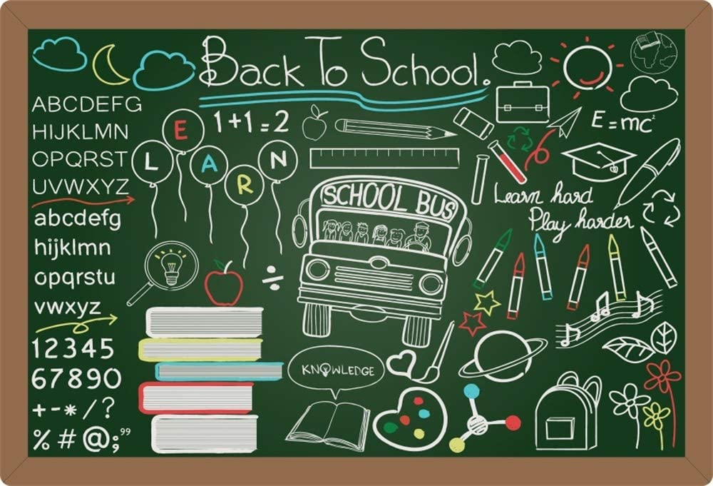 Yeele Back to School Backdrop 10x7ft Fabulous Chalk Painting Photography Background High School Pre-K Student Party Banner Event Room Decor Photoshoot Photo Booth Props