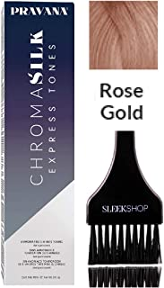 Pravana Chromasilk EXPRESS TONES Ammonia-Free 5 Minute Toning DEMI-PERMANENT Hair Color Dye (w/Sleek Tint Brush) Cream Haircolor Chroma Silk Quick Toning (ROSE GOLD)