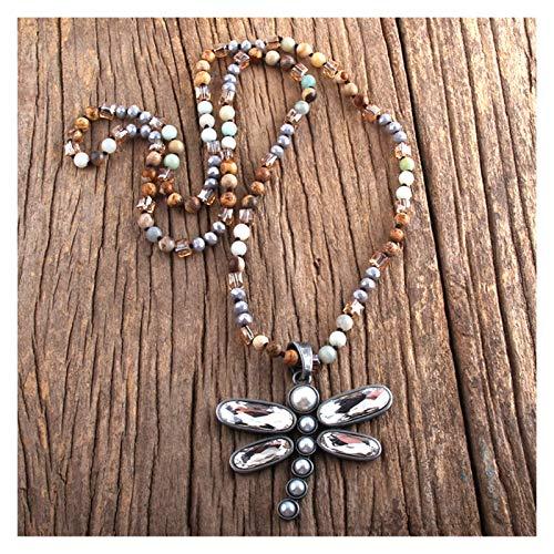 Qinqin666 Moda Fashion Bohemian Jewelry 6mm Piedra Semi-Preciosa Cristal Cristal de Metal Anudado Long Libélula Colgante Collar Collar de Damas Cadena de suéter para mamá, Regalo de Amigos
