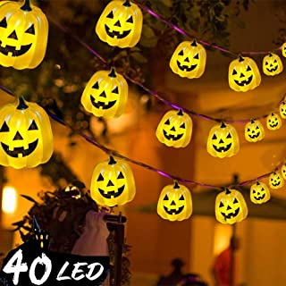 Lauva Halloween Party String Lights, Grimace Pumpkin Decorative Festive Lights Battery Operated 10ft 40LED with Remote & Timer for All Saints'Eve Parties, DIY Home Party Mantle Fireplace Decoration