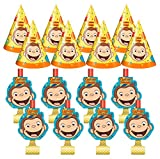 Unique Industries BashBox Curious George Birthday Party Favors Pack for 8 Guests Including Kids Hats and Blowouts