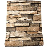 """Rock Wallpaper - Stone Peel and Stick Wallpaper - Stone Self-Adhesive & Removable Wallpaper 3D Stone Paper for Backsplash Countertop Wall, Easy to Clean, Realistic Stone Textured 17.7"""" × 118"""" Vinyl"""