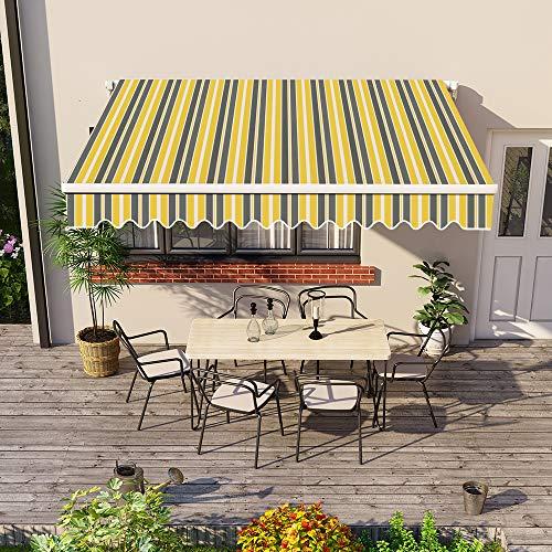 Greenbay 3 x 2.5m DIY Patio Retractable Manual Awning Garden Sun Shade Canopy Gazebo Yellow-Stripe with Fittings and Crank Handle