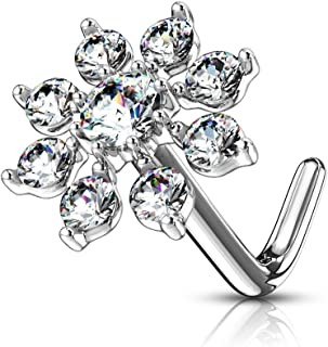 20g Surgical Steel Big Bling 7mm CZ Snowflake L-Shape Nose Ring