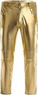 FEESHOW Men's Faux Leather Metallic Shiny Moto Biker Tight Pants Clubwear eggings Long Trousers