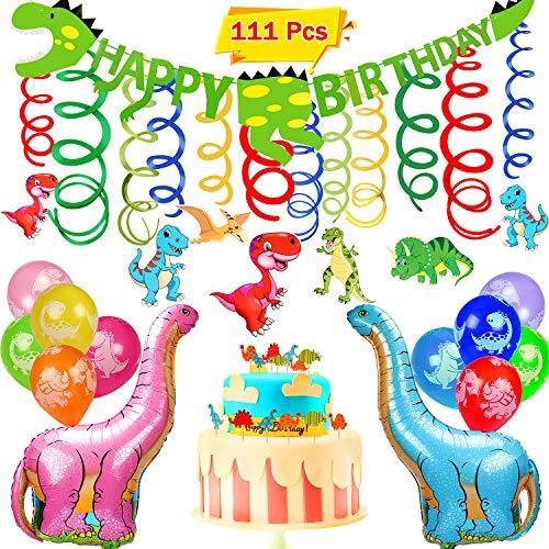 vamei 111stk Dinosaurier Geburtstag Deko Party Supplies mit Dinosaurier Ballons Banner Dinosaurier hängen Wirbel Dinosaurier Animal Cupcake Topper Optionen für Dinosaurier Party Supply Dekorationen