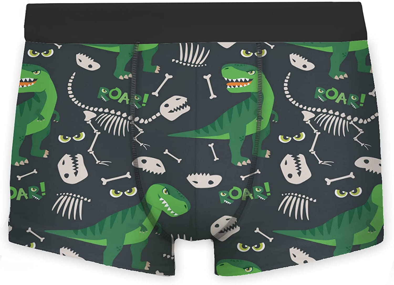 Mens Boxer Briefs Green Dinosaur Bone Roar On Dark Black Brief Underwear Personalized Man Boys Trunks