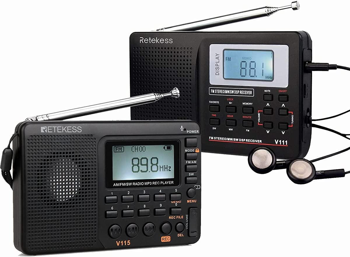 Retekess V115 Portable Time sale Under blast sales Shortwave Radio Digital Battery Pow