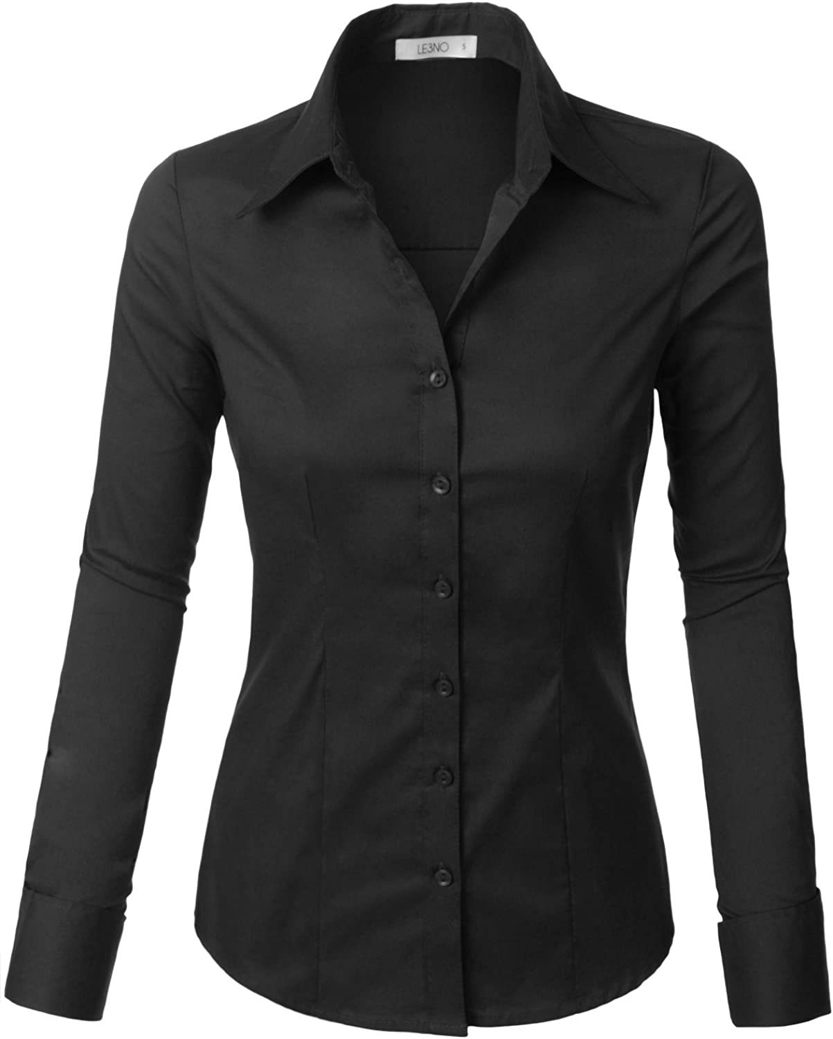 LE3NO Womens Tailored Long Sleeve Button Down Shirt with Stretch