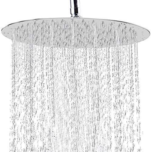 TeamTech 12 Zoll Regendusche Rund Einbauduschköpfe, 304 Edelstahl Duschkopf Wasserfall Regenbrause 30 cm Brausekopf aus Edelstahl mit Anti-Kalk-Düsen, poliert Spiegeleffekt Regenduschkopf