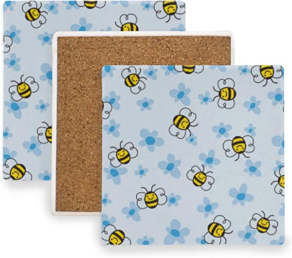 Blue Flower Bumblebee Ceramic Coasters For Drinks Square 4 Piece Coaster Set