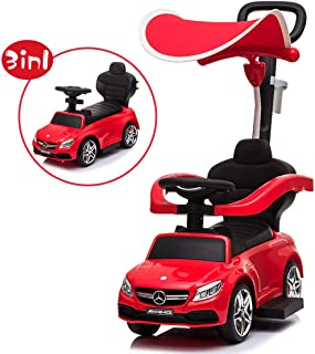 Little Brown Box 3 in 1 Licensed Mercedes Benz AMG Kids Ride on Push Car for Toddler, Baby Push Car W/ Canopy, Parent Handle, Storage, Guardrail, Music & Horn, Kids Indoor/Outdoor Car Stroller (Red)