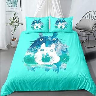 Totoro Parure de lit 3 pièces avec housse de couette et 2 taies d'oreiller en microfibre ultra douce Motif dessin animé po...