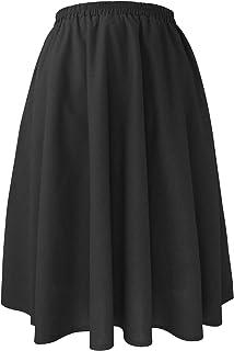 Falda Mujer de Lino Plisada Media Elegante Estilo por Las Rodillas Cintura Elástica Color Sólido Bolsillo