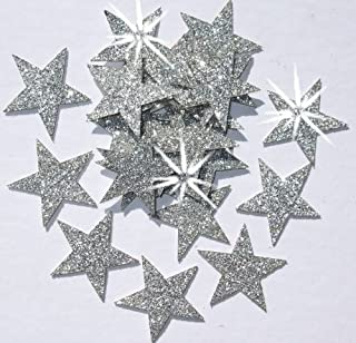 48 Silver Fabric Glitter 1 Inch 25mm Stars Iron-On Fabric Transfer