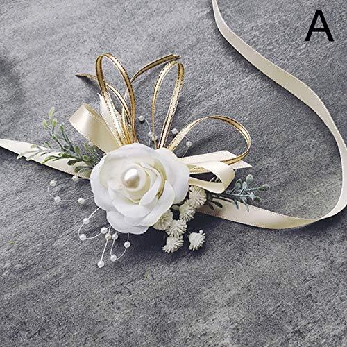 TSP Pulsera de muñeca para mujer, hombre, ramillete y Boutonniere, rosa artificial, rosa, azul, para dama de honor, accesorios de boda (color: una flor de muñeca)