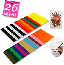 """Heat Transfer Vinyl HTV Bundle Variety Pack Assortment for T Shirts Fabric 12x10"""" 26 Sheets Iron On Vinyl Colored Starter Kit for Silhouette Cameo and Cricut Bonus 1 Weeding Tweezers"""