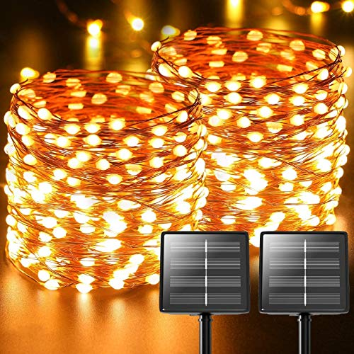 Outdoor Solar String Lights, 2-Pack Each 73ft Porch Decor Outside Lighting Products, Waterproof Solar Rope Lights, Deck Hanging Fairy Light for Garden, Backyard Yard Trees Christmas
