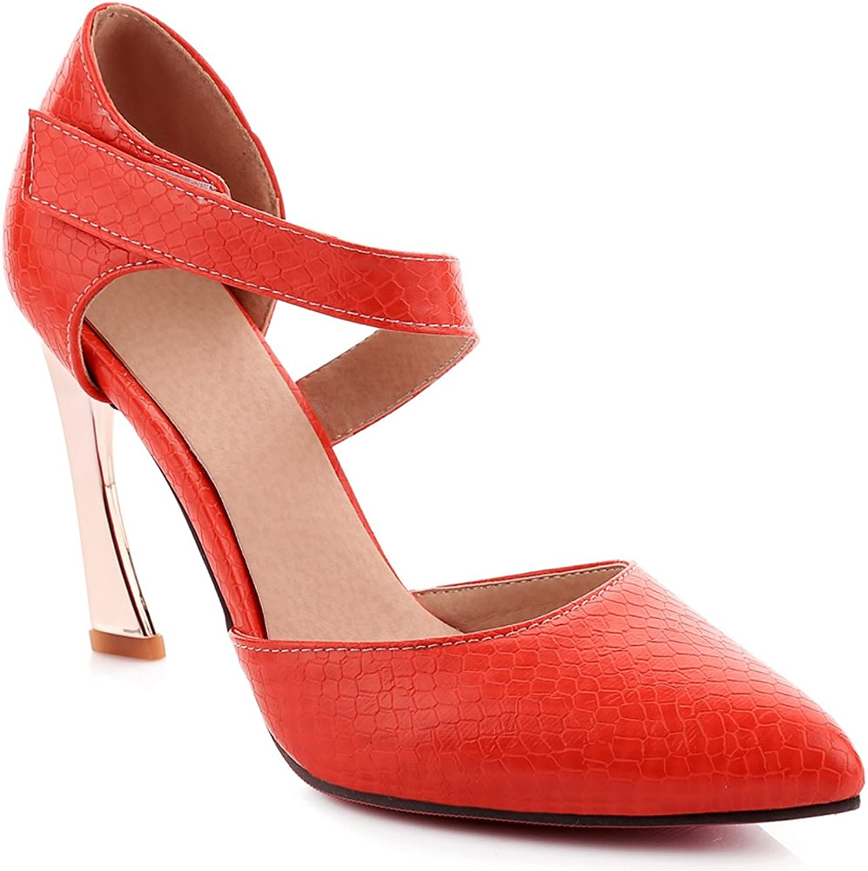 AIWEIYi Womens Sanke Print Pointed Toe Buckle Strap Platform High Heel Sandals Black