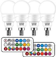 Bombilla led Colores E14, Bombilla RGBW con mando a distancia,3W Equivalente a 30W Halógena,5700K Luz Blanca Fría,bombilla colores regulable 12 Color,Pack de 4 Unidades