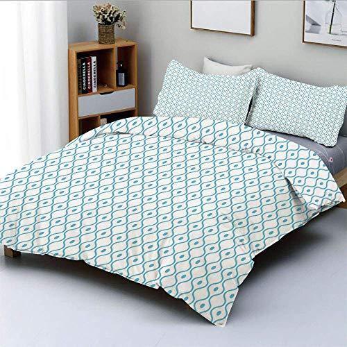 Juego de funda nórdica, líneas onduladas Mosaico inspirado en curvas acuáticas oceánicas Simplista punteado Decorativo Juego de cama de 3 piezas con 2 fundas de almohada, azul claro blanco, el mejor r
