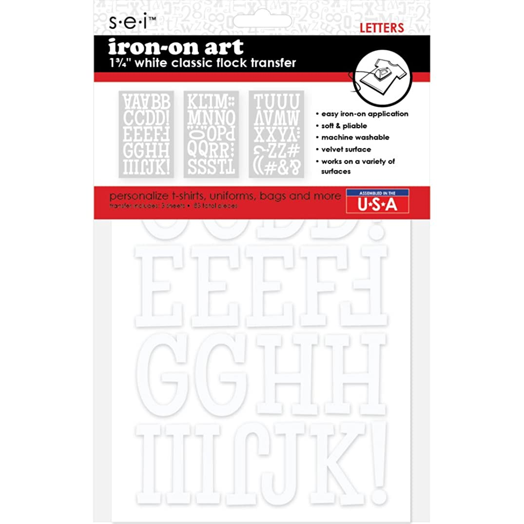 Sei 1 3/4-inch Classic Flock Letters Iron-on Transfer, White, 3-Sheet