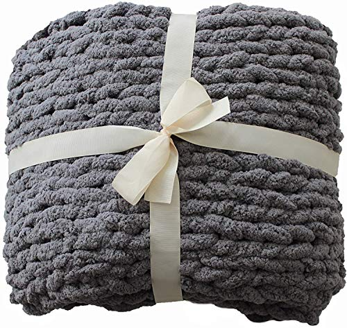 """Chunky Knit Blanket Large Grey 47""""x60"""" Beautiful Home Decor Soft Chenille Yarn Couch Bed Soft Bulky Hand Made Throw for Bedroom Pet Mat Baby Blanket Gift"""