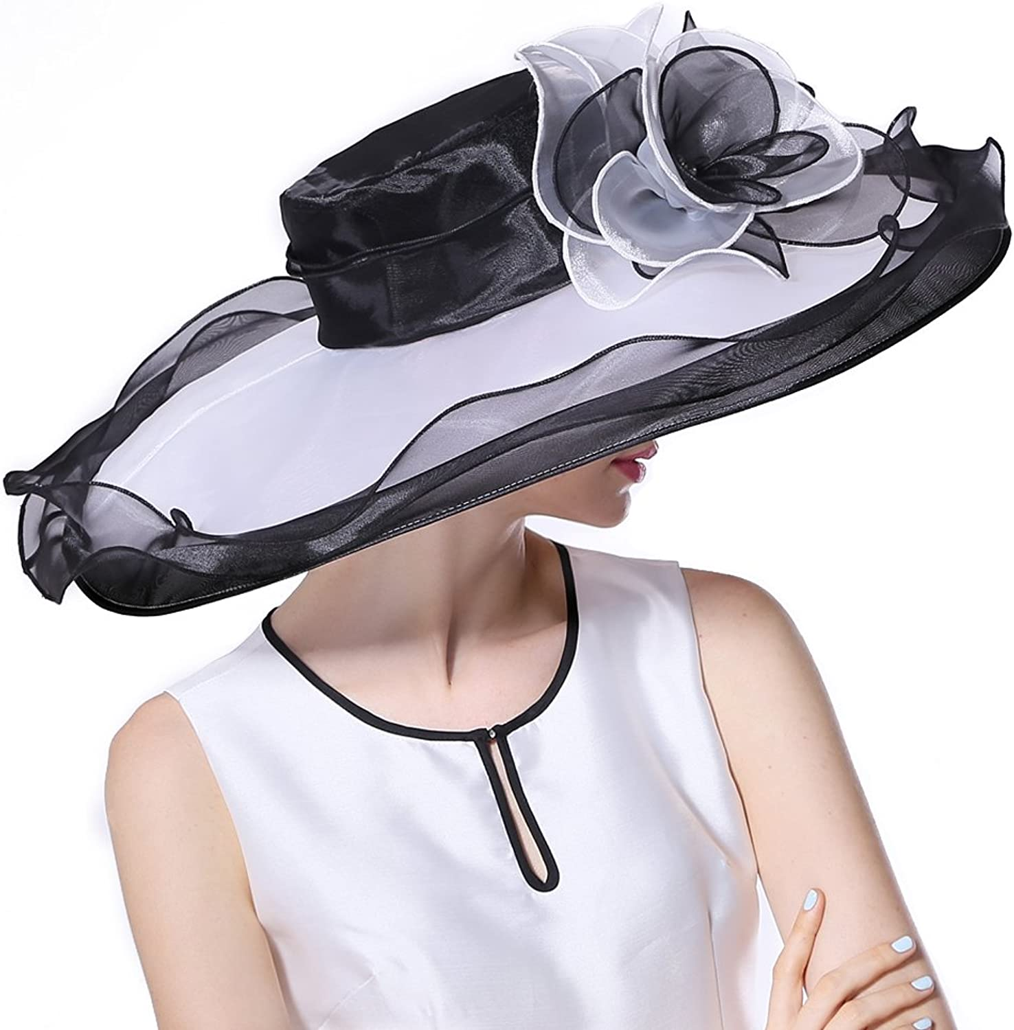 June's Young Women Hat Organza Sun Hat for Summer Fresh color for Summer Black White