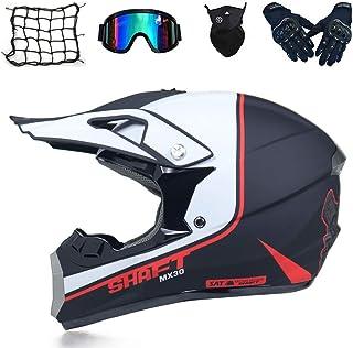 IKHNGLE Motocross MX Helmet Motocross Helmet City Helmet Motocross Helmet Adult Youth Kids ATV Motocross Helmet