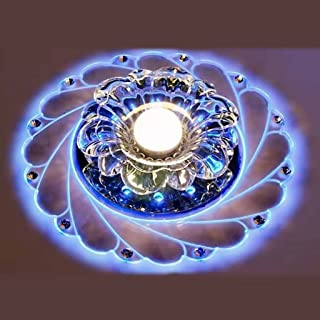 LIXIAOLONG Crystal Chandeliers Peacock Led Ceiling Lights 3W Round Lighting Entrance Corridor Hallway Lights of Surface Mount Lamp (Color : Blue Light)