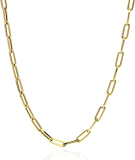 """14K Yellow Gold 4mm Paperclip Elongated Open Chain Necklace 16""""-30"""", 30"""