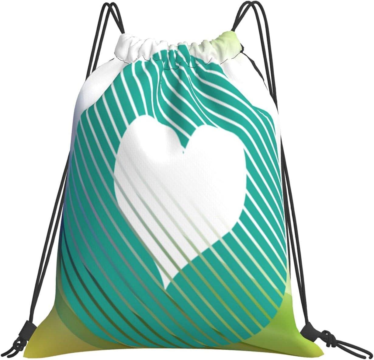 Animalworld Striped Philadelphia Mall 55% OFF Heart Turquoise Waterproof Drawstring Bag Gy